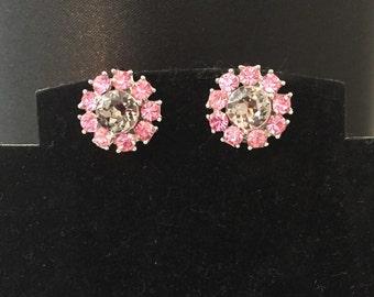 Trifari Pink Diamond Flower Earrings