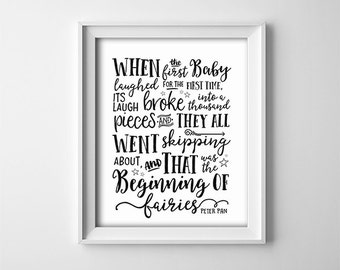 Peter Pan Nursery PRINTABLE - When the first baby laughed -  Black and white - Nursery decor - Baby shower gift - SKU:8588