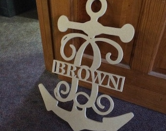 Anchor Frame Family Name, Unfinished Framed Monogram, Wooden Wall Decor