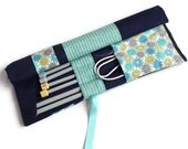 Blue Knitting Needle Case, Knitting Needle Roll