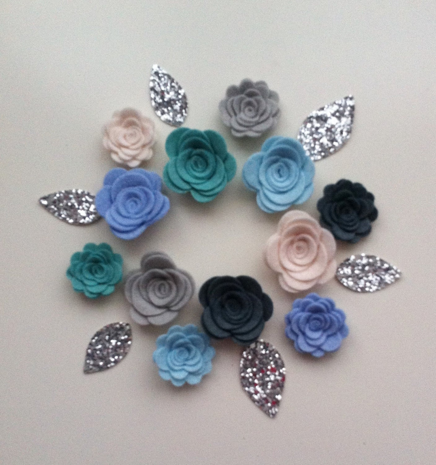 12 hand made blue and grey felt flowers roses glitter for How are blue roses made
