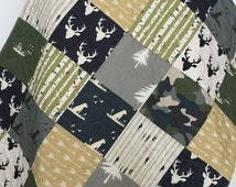 Camo Baby Quilt, Camo Baby Blanket, Camo Baby Stuff, Hunting Baby Bedding, Dogs and Ducks Crib Bedding, Crib Bedding Dog,Woodland Baby Quilt