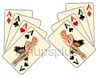 2 Mirrored Pair Four Aces Poker Gambling Pinup girl in little black dress Aces High waterslide Decal Sticker No. 319