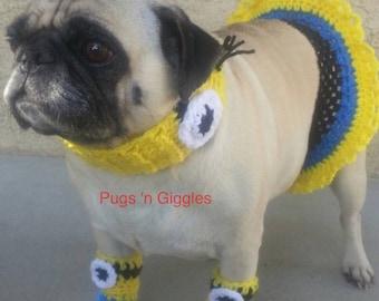 Minion ruffle skirt costume - pet costume - pugs - dog dress-pugs dog outfits-minions-minion - minion accesories
