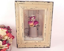 Shadow Box Wall Hanging Rusty Pitcher Flower Vase Cottage Shabby White Frame Vintage Home Decor