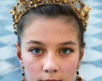 Dress Crown, Princess Crown, Gold Crown, Filigree crown, Gold Headdress, Crystal Crown