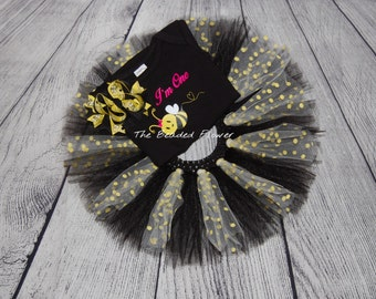 Bumble Bee 1st birthday shirt tutu halloween outfit I'm One
