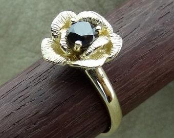 Single Rose Flower Black Diamond Promise / Friendship Ring 14k Yellow Gold
