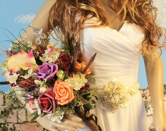 Wildflower Wedding Bouquet]Just Picked Look]Bridal Bouquet]Wedding Flowers]Colorful]Rustic Wedding]Rustic Chic,Bride's Bouquet,Wildflowers
