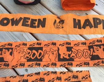 "Halloween Crepe Paper Streamers, Happy Halloween and ""Boo""! Orange and Black Prints"