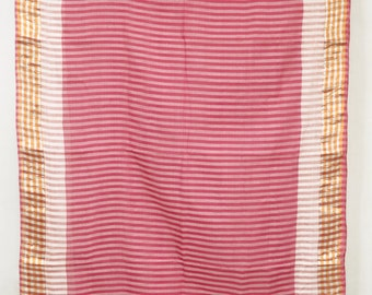 Striped Red Pink Fabric Saree Vintage Indian Textile Crafting Drapery Sari TP4155