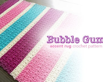 Crochet Pattern: Accent Rug (Bubble Gum Accent Rug Crochet Pattern by Little Monkeys Crochet) PDF Crochet Rug Pattern Instant Download