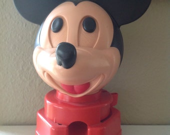Vintage Mickey Mouse Bubble Gum Bank 1968 Flesh Face
