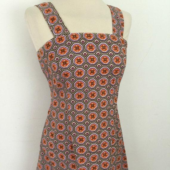 1970s sundress cotton mosaic print purple orange dress strappy fitted dress handmade dress UK 10 12 A line skirt boho summer style