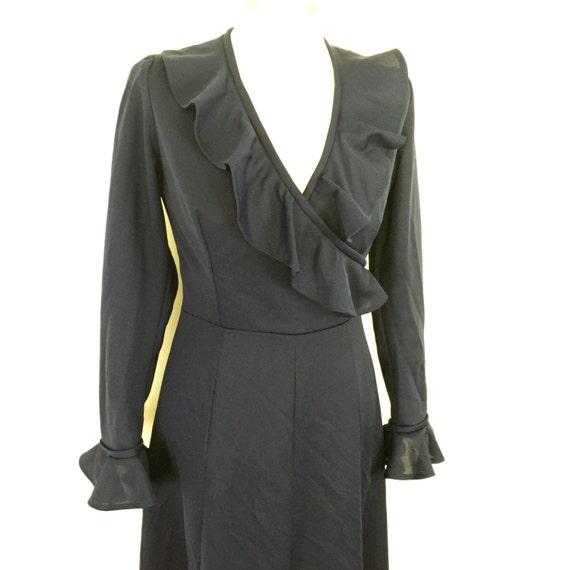 navy dress maxi dress long sexy V neckline frilled vintage 1970s disco Biba style boho hippy festival UK 8 blue