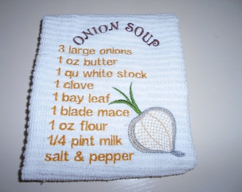 Onion Soup Embroidered Towel