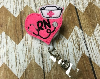 RN Heart With Nurse Hat Badge Reel