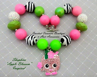 Girl's Shopkins Apple Blossom Inspired Rhinestone Chunky Necklace with Pink,Black & White and Green Beads