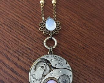 Opal antique Watch Movement Pendant