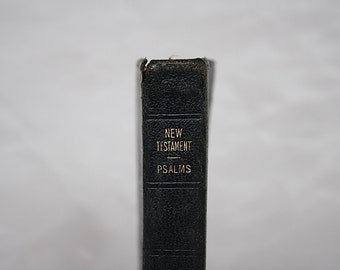 Vintage New Testament Bible - Vintage Pocket Bible - Oxford Bible - Black Leather Bible - Old Bible - Psalms - Bible Decor