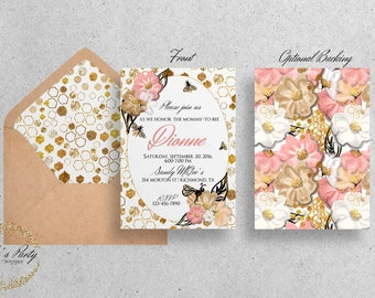 Bee, Honey Bee, Bumble Bee,Floral, Watercolor, Bee Baby Shower Invitations - YOU PRINT