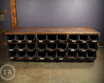 Vintage Industrial 27 Drawer Hardware Store Storage Cabinet