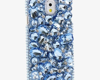 Samsung Galaxy Note Edge Plus S8 E7 S7 S6 All iPhone Model Handcrafted Case 3D Luxury Bling Crystal Sparkle Diamond Gems Cool Water Blue_834