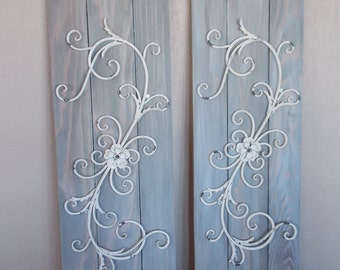 WHITEWASHED METAL SHUTTERS   Set of 2  . Distressed and Whitewashed Wood and Metal Decor . Solid Quality Wood . Gray wi Whitewash  Unique