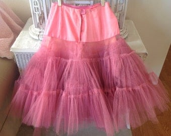 SOLD***SOLD***SOLD***Unbelievably gorgeous vintage salmon pink ballet slip tutu with tons of old tulle netting