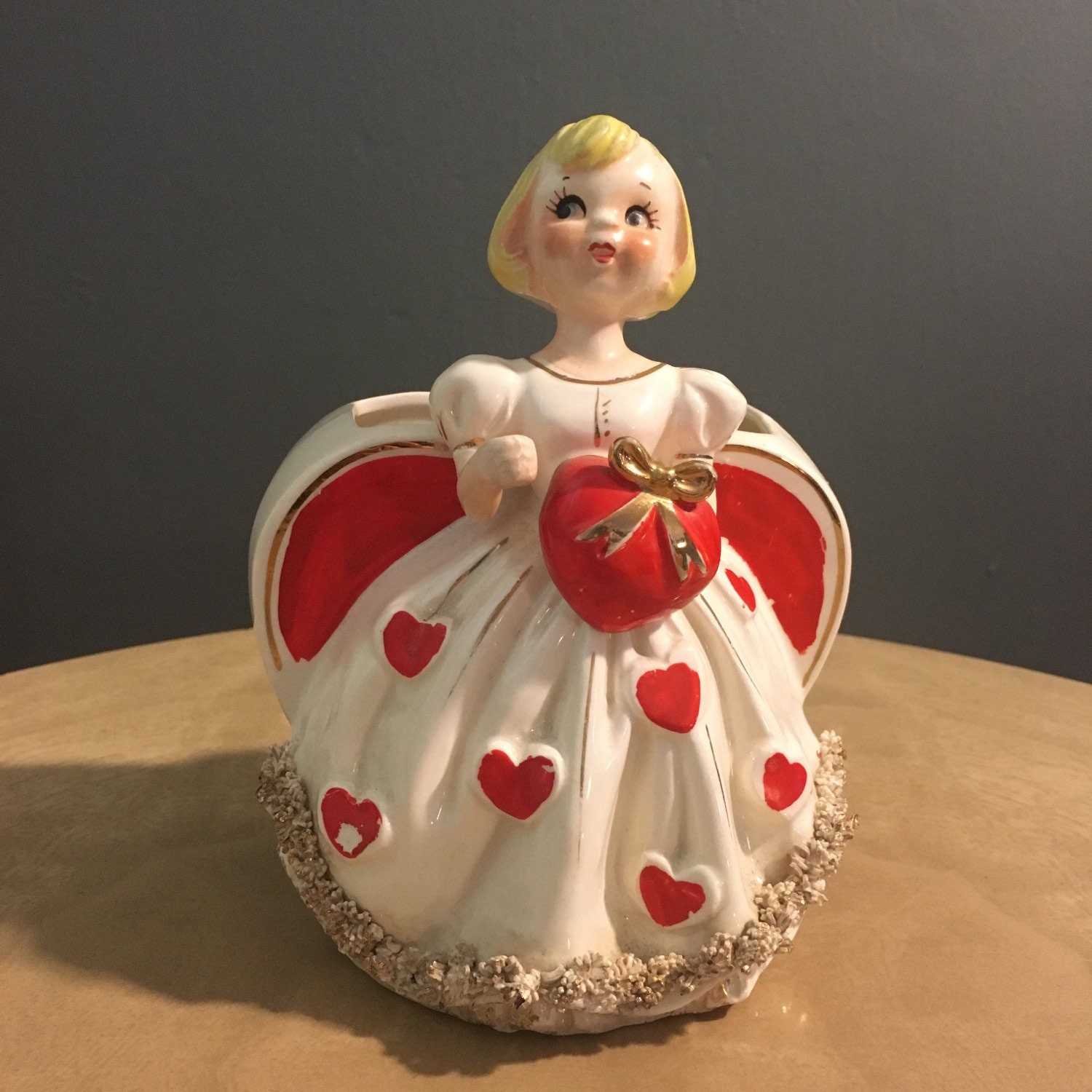 1950s Rb Valentine Girl Planter With Spaghetti Trim