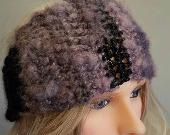 Crochet mauve and black ear Warmer. Head Band. Made by Bead Gs on ETSY. Size Ladies or Teen