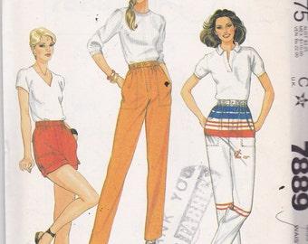 McCalls 7889 Vintage Pattern Womens Pants or Shorts Size 12 Waist 26 1/2 UNCUT