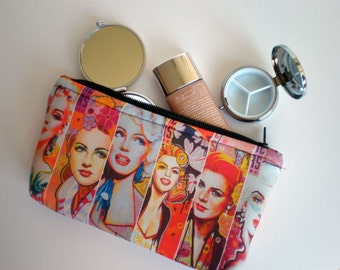 Cosmetic bag, zipper pouch, toiletry bag, pencil case, fabric pouch, printed pouch, gift for her