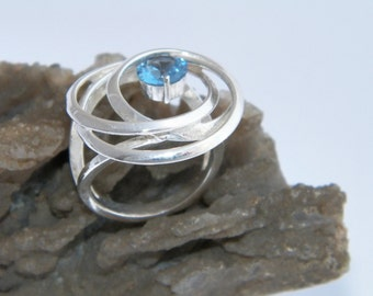 Handcrafted .925 Sterling Silver Ring with Stone Size US 6.75