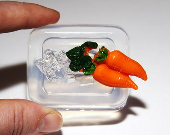 Clear-silicone mold.Carrot,size-44mm,for pendants,earring,art,craft .Handmade item. Free USA shipping.(1-30)
