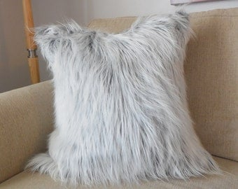 gray and white faux mongolian fur pillow cover cover only