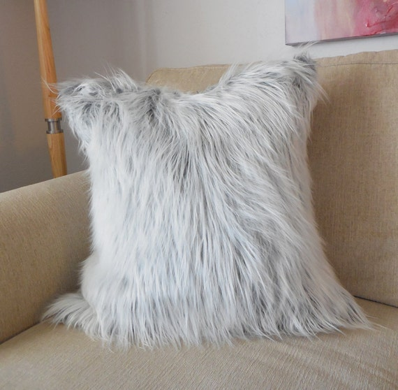 Gray and white faux mongolian fur pillow cover cover only for White faux fur pillow