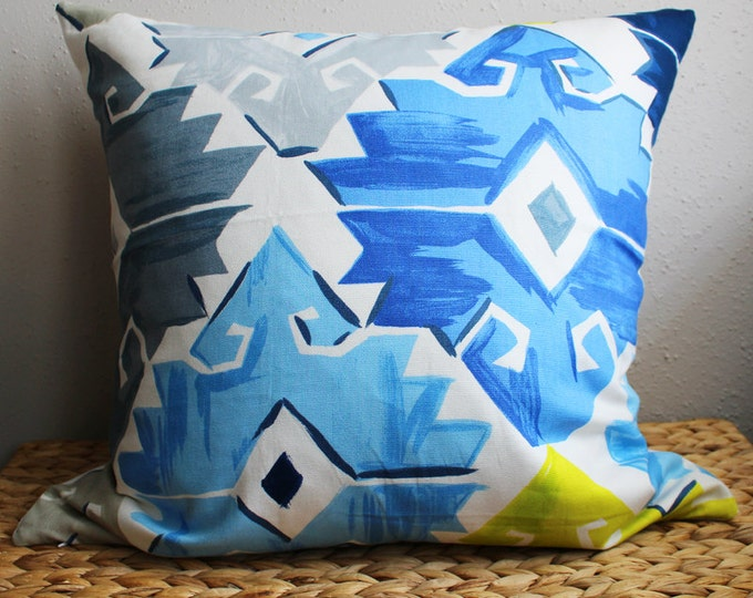 blue geometric print pillow