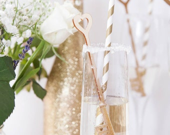 Key Drink Stirrers With 'Love' Detail - Gold Drink Stirrers - Cocktail Stirrers - Wedding Stirrers - Swizzle Sticks - Bridal Shower Decor