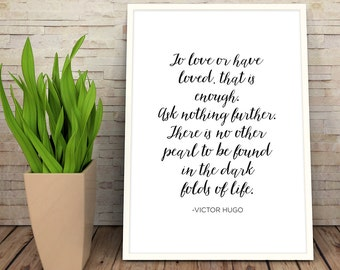 Les Miserables Print | Digital Download Wall Art  | Typography Print | Literature | Classic Books Instant Art