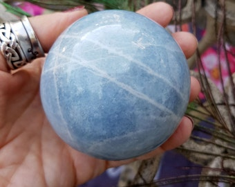 Beautiful Banded Soothing Blue Calcite Sphere - Calming, Throat Chakra Balancing, Clear Communication
