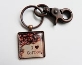 I Love Coffee, Coffee Key Chain Fob, Coffee Key Ring, Coffee Lover Gifts, Accessories, Friendship Gifts, Mother's Day Gifts, Father's Day