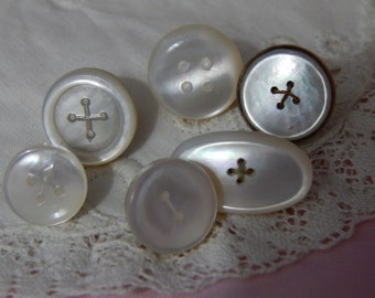 Imitation Sew Through Vest Buttons - Mother of Pearl  6