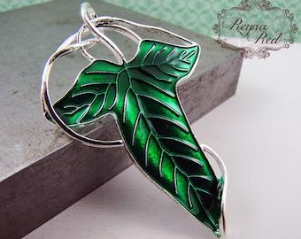 Silvertone & Bright Green Enamel Woodland Leaf Pendant/Pin,  1 pc, Spring, green pendant, foliage, nature, botanical  - reynaredsupplies