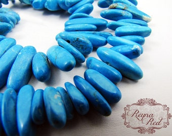 Turquoise Dyed Howlite Elongated Chips, chip beads, howlite beads, chip beads, blue chip beads, jewelry making, coral- reynaredsupplies