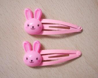 2x bunny hair clips