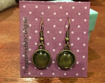 8mm Bronze Glass Dangle Earrings