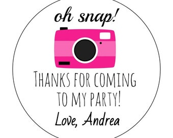 12 Camera Stickers, Oh Snap, Instagram Party, Camera Favors, Camera Stickers, Picture Perfect, First Birthday, Social Media, Camera Labels