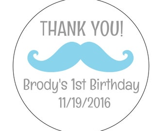12 Mustache Thank You Stickers, Mustache Theme, First Birthday, Blue Mustache, Thank You Labels, Gender Reveal, Birthday Stickers, Favor Bag