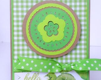 Handmade Card, Hello Card, Kiwi, Fruit, Friend Card, Friendship Card, Summer Card, Tropical Fruit, Note Card, Green Gingham, Kiwis